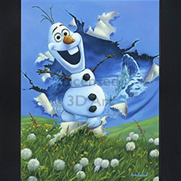 Olaf | Snowman | 3D Art | By PFF | Framed | 3-D | Lenticular Artwork | Disney Licensed