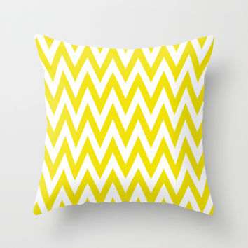 Chevronzag in Mustard Yellow Throw Pillow by House of Jennifer