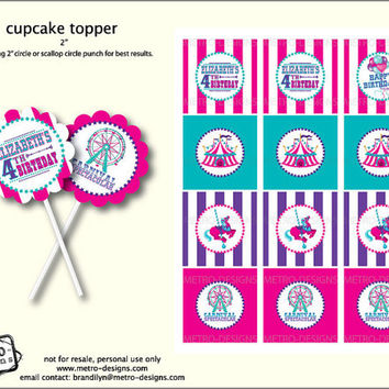 Circus Party - Favor Tags & Toppers