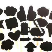 The XL PARTY SET Chalkboard Photobooth Props with Chalkboard Marker Set of 20 Speech Bubble Chalk board Photobooth Props Wedding Decoration
