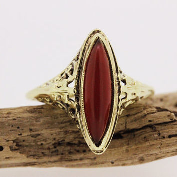 Antique Victorian Ring Art Nouveau Ring Carnelian Ring Gemstone Ring Navette Ring 14k Yellow Gold Ring Vintage Estate Ring Size 5.75