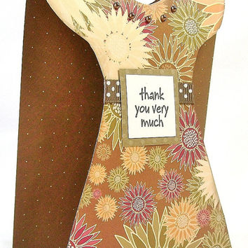 Thank you very much, Many thanks card, Dress silhouette greeting card, Floral dress shape cutout, Autumn flowers,  Brown pearl necklace