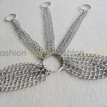 Silver Bracelet with 3 Finger Chains