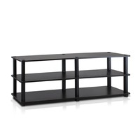 Furinno Turn-S-Tube No Tools 3-Tier Entertainment TV Stands, Espresso/Black