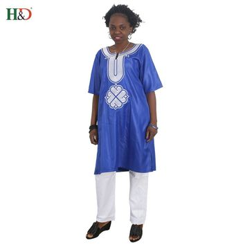 H&D african dresses for women outfit set lady blue tops pant set africa style clothing riche bazin clothes spring summer