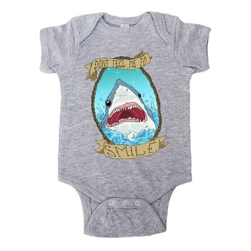 Don't Tell Me To Smile Shark -- Baby Onesuit