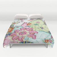 Damask antique floral porcelain china chinoiserie plate of flowers and crane bird vintage photo Duvet Cover by IGallery