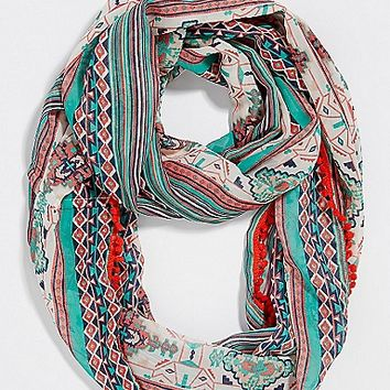 chiffon infinity scarf in ethnic print with pompom trim | maurices
