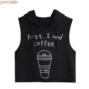 00JOYCOSIN hotselling Cotton Blended Crop Tops Women Sexy Coffee Print Hooded Crop Sleeveless tops