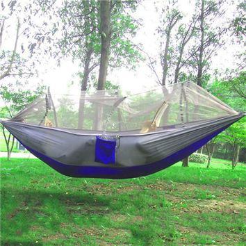 Portable Parachute Multifunctional Hammock For Outdoor Camping W/ Mosquito Net, Ropes & Carabiners