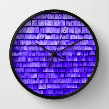 wooden wall purple Wall Clock by Julius Marc