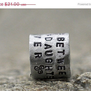 SALE Mother Daughter Ring, 'The Love Between A Mother & Daughter Is Forever' Personalized Handstamped Cuff Ring