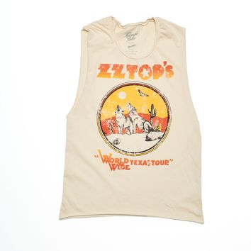 ZZ Top WorldWide Texas Tour Muscle Tee - Summer Melon