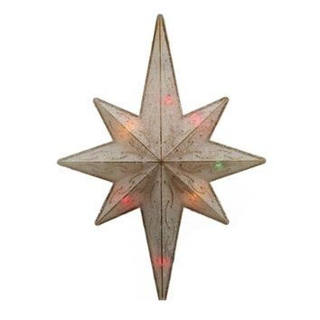 "11"" Lighted Frosted Gold Bethlehem Star Christmas Tree Topper - Multi-Color Lights"