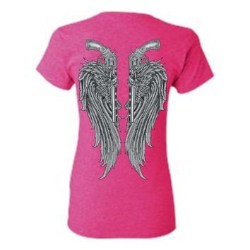 Women's Juniors Beautiful Angel Wings Pistols Tucked T-Shirt