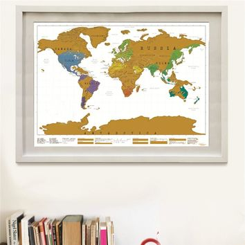Drop shipping Deluxe Travel Scratch world Map Vintage gold black poster Personalized living room bar pub cafe painting