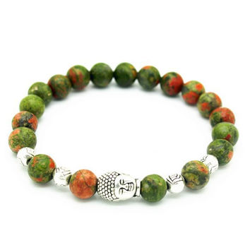 Natural Stone Bead Buddha Bracelet (Green and Orange)