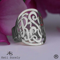 Designer Personalized Initials Ring (Order Any Name) - Sterling Silver, 10K/14K White Gold