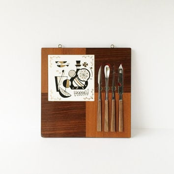 Vintage Midcentury Hanging Tile and Wood Cutting Board With Bar Tools, Retro Danish Modern Black Gold Bar Cutting Board Bar Utensils