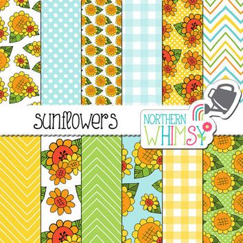 Sunflower Digital Paper - Fall floral scrapbook paper - sunflower seamless patterns in yellow, orange, green & blue - commercial use - CU OK