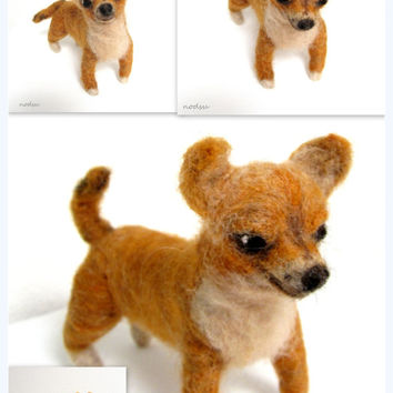 Custom dog portrait sculpture, 3D dog replica, custom chihuahua replica, made to your dogs likeliness, needle felted, like your dog, pet art