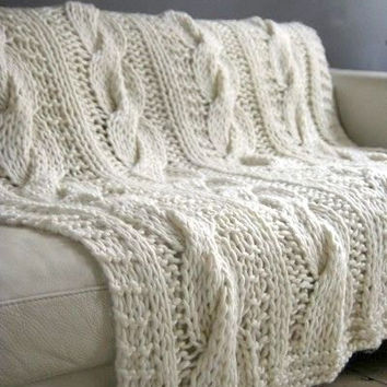 Chunky Knit Wool Blanket Cable Knit Blanket Sofa Throw Baby Blanket Made to Order