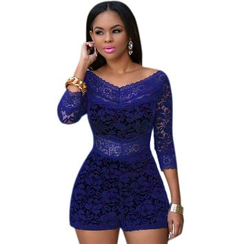 Chicloth Royal Blue Lace Overlay Off-shoulder Romper
