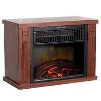 Mini Electric Fireplace Portable Heater Log Fuel Effect Brown Small