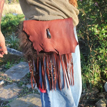 Buffalo Spirit Belt Utility Bag, Buffalo Fur and Tooth, Goat and Buffalo Leather Fringed, Single Pouch, Hip Bag