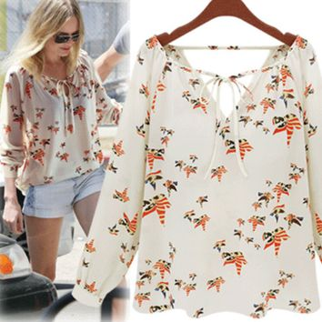 White Bird Print V Neck Chiffon T Shirt