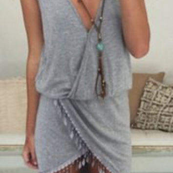 Gray Sleeveless Fringed Mini Dress