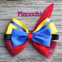Pinocchio hair bow disney character inspired hair bow pinocchio hair clip