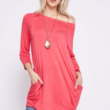 French Terry Off Shoulder Top - Coral