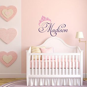 WonderWallzStore Girls Name Wall Decal- Princess Wall Decal- Personalized Name Wall Decal Girls Room Bedroom Decor- Little Princess Tiara Crown Wall Decal