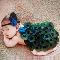 Fashion Infant Newborn Baby Girls Knit Headband and Feather Skirts Photography Accessory Prop (Color: Multicolor)