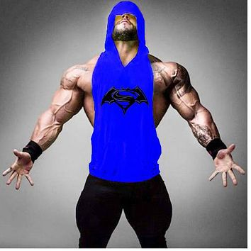 Muscle Beach Stringer Hoodie Men Gyms clothing Sleeveless Sweatshirts Clothes Bodybuilding Hoodies Fitness Tank Tops