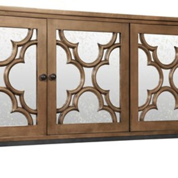 Edras Mahogany and Antiqued Mirror Sideboard