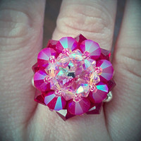 The Maddy- Light Rose, Deep Coral and Siam Red Swarovski Crystal Flower Fashion Cocktail Rivoli Ring