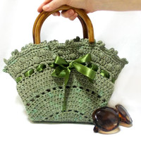 Crochet bag, Handmade tote bag, Midi Bag, Purse, Green handbag, 2014 bags trends, Medium handbag, wooden handle, Crochet tote bag