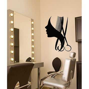Vinyl Wall Decal Beauty Hair Salon Barbershop Logo Scissors Comb Stickers (3117ig)