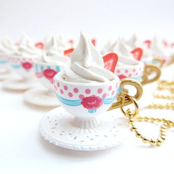 cup of coffee necklace Pendant alice in wonderland by shimrita