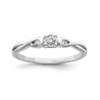 Sterling Silver CZ Round Infinity Side Accented Promise Ring