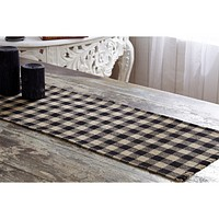 Burlap Black and Tan Check Table Runners