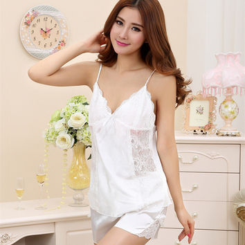 High Quality Lace Pyjamas Women Summer Style Silk Robe Sleepwear Pijama Entero Satin Robe Nightgown Pajamas Women Nightwear