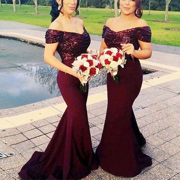2016 Bling Off Shoulder Bridesmaid Mermaid Dresses Pleat Ruched Sexy Custom Made Many Colors Jersey  Prom Gown JB822