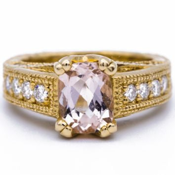 8x6mm Cushion Cut Morganite Center 14k Yellow Gold Diamond Channel Set 1.75 Carat Total Weight