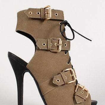 Wild Diva Lounge Strappy Open Toe Heel