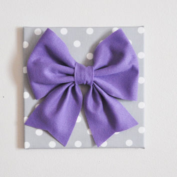 "TWO Wall Hangings -Large Lavender Bow on Gray with White Polka Dot 12 x12"" Canvas Wall Art- Baby Nursery Wall Decor-"