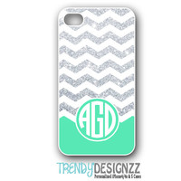 Personalized iPhone case, iPhone 4 4s case, iPhone 5 case, Chevron Glitter Case, Personalized Cover, Mint Monogram (NOT REAL GLITTER) (1205)