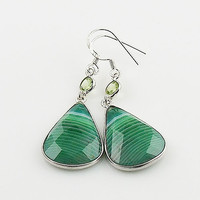 Green Faceted Botswana Agate & Peridot Sterling Silver Earrings
